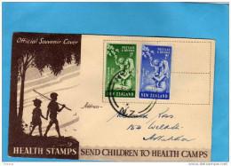 NeweZealand-Enveloppe-illustrée - -enfants à La Pêche- 1947-health Stamps -N°303-6-a Voyagé - 1907-1947 Dominion