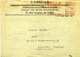 EMA Machine à Affranchir Abeille Bee Honey Miel Assurances Paris 1940 - Abeilles
