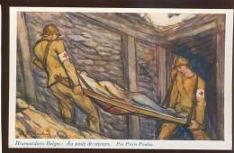 MILITARY WWI BELGIUM RED CROSS NURSE MAN OLD POSTCARD #131 - Red Cross