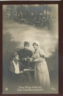 MILITARY WWI SOLDIER RED CROSS NURSE OLD POSTCARD #147 - Red Cross