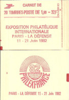 """CARNET 2187-C 4 Liberté De Delacroix """"PHILEXFRANCE 82"""" Daté 9/2/82 (haut) Carnet De 20 Timbres Fermé Bas Prix RARE - Usage Courant"""