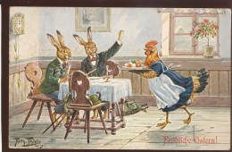 SIGNED A. THIELE OLD POSTCARD #052 EASTER DRESSED RABBIT  T.S.N. 1021 - Thiele, Arthur