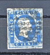 Sardegna 1851 - 1° Emissione, N. 2d,  C. 20 Azzurro Vivo, Annullato Con Muto A Rombi (firmato Biondi) - Sardegna