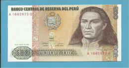 PERU - 500 INTIS - 26.06.1987 - Pick 134.b - UNC. - TUPAC AMARU II - 2 Scans - Pérou