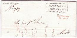 1848 - Lombardo-Venetie  - Lettre De CASTELFRANCO / 14   Mar  Rouge+ L R° PRETURA - Italy
