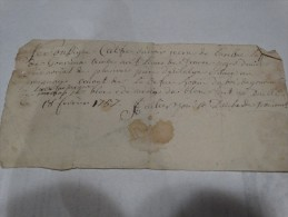 1757.........reçu De Monsieur Laffineur De Gonrieux - Historische Documenten