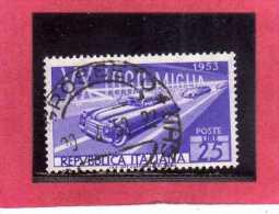 ITALIA REPUBBLICA  ITALY REPUBLIC 1953 CORSA AUTOMOBILISTICA MILLE MIGLIA CAR RACE USATO - USED - OBLITERE´ - 6. 1946-.. República