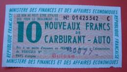 Ancien bon d'achat carburant auto, 10 nouveaux francs, Minist�re des Finances et des Affaires �conomique