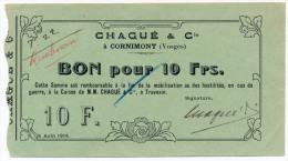1914 // CORNIMONT //  Dix Francs - Bons & Nécessité