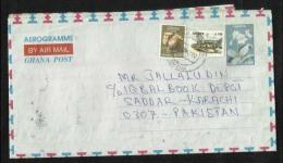 Ghana  Air Mail Postal Used Aerogramme Ghana Wast Africa To Pakistan Flower Drums  Stamp - Ghana (1957-...)