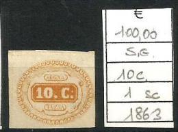 1863 SEGNATASSE    Regno  10 C N. 1 Nuovo  Senza Gomma - Non Classificati