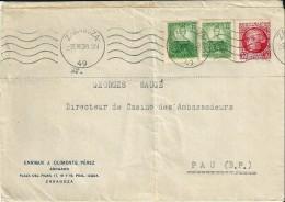 Enveloppe  -   Cachet  Au  Départ  De   ZARAGOZA      (  Espagne  ) à  Destination   De  Pau    ( 64 ) - Poststempel (Briefe)