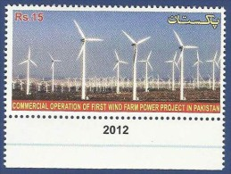 PAKISTAN MNH 2012 COMMERICAL OPERATION FIRST WIND WINDS FARM POWER PROJECT ECLECTRICITY - Pakistan