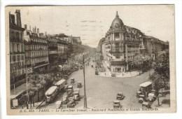 CPSM PARIS 9° ARRONDISSEMENT - Le Carrefour Drouot Boulevard Haussman Et Grands Boulevards - Paris (09)