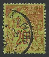 French Colonies, 20 C. 1881, Sc # 52, Mi # 51, Used - Alphee Dubois