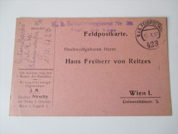 Österreich Ganzsache 1917 K.u.K. Etappenpostamt 423. KuK Schützenregiment Nr 3? Kriegsfürsorge. J.N. Nirschy - Entiers Postaux