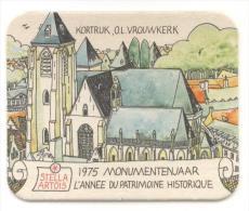 Stella Artois. Kortrijk, Onze Lieve Vrouwkerk. 1975 Monumentenjaar - L'année Du Patrimoine Historique. Steven. - Beer Mats
