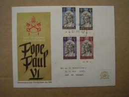 KUT 1969 VISIT Of POPE PAUL VI To UGANDA Issue 4 Values To 2/50  On OFFICIAL ILLUSTRATED FDC. - Kenya, Uganda & Tanganyika