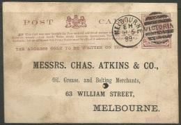 Victoria  1899   1p Postal Card   Nice Melbourne Cancel - 1850-1912 Victoria