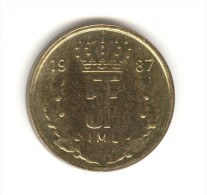 5 Francs Luxembourg 1987 - Luxembourg