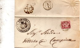 1876  LETTERA CON ANNULLO  ROCCA SINIBALDA RIETI - Steuermarken