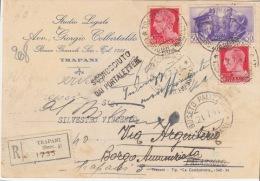 Cover Lettera Racc. Affr Imperiale +cm.50 Alleanza-Trapani 19.7.41-Viaggiata Italy Italia - Poststempel