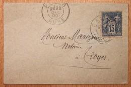 Enveloppe Pour Troyes Affranchissement Type Sage Oblitération Payns Type A Aube 09 - Marcophilie (Lettres)