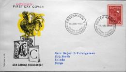 Denmark 1964 Cz.Salania FDC MiNr.420y Volkesschulen / School / école ( Lot 3101 )rooster/Hahn/Coq/gallo  FOGHS COVER - FDC