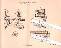 Original Patent - J. B. Blish In San Diego , Calif. 1902 , Nautisches Instrument Zur Ortsbestimmung , Nautik !!! - Optics