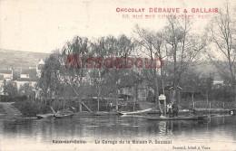 78 - VAUX Sur SEINE  - Le Garage De La Maison P. SAUSSOL - Pub Chocolat DEBAUVE & GALLAIS - Dos Vierge   - 2 Scans - Vaux De Cernay