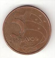 *brazil 5 Centavos 2005  Km 648   Xf - Brésil