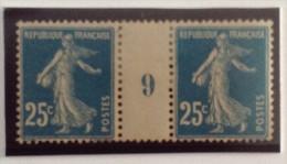 """Semeuse N°140 - 25c Bleu Clair Paire Millésime 9 Papier GC """"blanc"""" De 1919 * - Millesimes"""