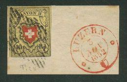 Suisse//Schweiz//Svizerra // Switzerland// Timbre Rayon No. 16II Grille Fédérale Et Cachet Luzern 5.11.1852 - 1843-1852 Timbres Cantonaux Et  Fédéraux