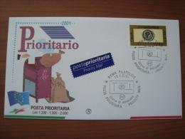 2001 FDC Filagrano - PRIORITARIA - 6. 1946-.. Repubblica