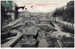 11-NARBONNE Les Quatre Ponts,écluse De La Robine Et Bateau-lavoir-animée - Narbonne