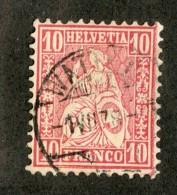 3305  Swiss 1867   Mi.#30 (o) Scott.#53    Cat. 2.€ -Offers Welcome!- - 1862-1881 Helvetia Assise (dentelés)