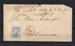1872 BALEARES, SOBRE CIRCULADO ENTRE MAHÓN Y CIUDADELA EN MENORCA, FECHADOR Y LLEGADA. - 1872-73 Königreich: Amédée I.