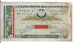 Loterie National 1935 - Billets De Loterie