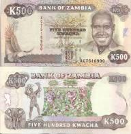 Zambia P-35a, 500 Kwacha,  Baobab Tree, Eagle / Elephant, Cotton Harvest $25CV - Zambia