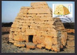 4.- 025 SPAIN ESPAGNE 1998. MAXIMUM CARD. ARCHAEOLOGY  NAVETA DES TUDONS. MEGALITHIC BUILDING. PREHISTORY.  ISLAS BALEAR - Archaeology