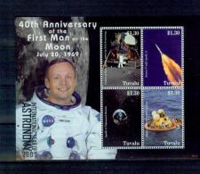 Tuvalu 2009 T12 Armstrong Landing On The Moon Souvenir Sheet MNH - Space