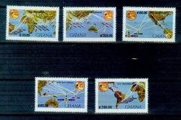 T10 5-wide Satellite Map Of Ghana 1990 MNH - Space