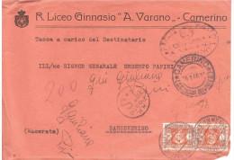 """26.1.46 2X LIRE1 SEGNATASSE R.LICEO GINNASIO""""A.VARANO""""-CAMERINO - 5. 1944-46 Luogotenenza & Umberto II"""