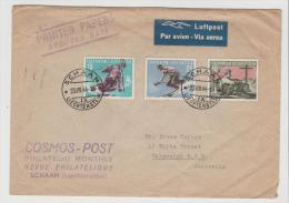 Lie003a/ Sport 1955 Per Drucksache/Airmail Nach Balgowlah, Australien. Stempelfehleinstellung 1944! - Liechtenstein