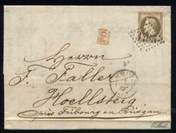 Lettre De Strasbourg Pour Hoellsteig 1867 - Marcophilie (Lettres)