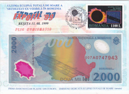 3843A  SOLAR ECLIPSE, FIRST PLASTIC NOTE IN EUROPE INSIDE,1999, ROMANIA - Astrologia