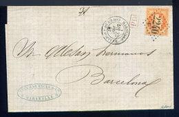 Lettre De Marseille Pour Barcelone 1869 - Postmark Collection (Covers)