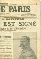 journal l'echo de Paris , mardi 12 novembre 1918 , signature de l'armistice, l'allemagne a capitul�  - vifb11