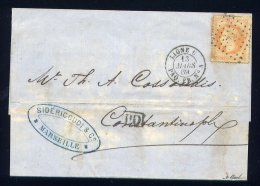 Lettre De Marseille Pour Constantinople 1869 Cachet Maritime Ligne U PAQ FR N° 4 - Postmark Collection (Covers)