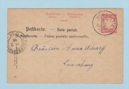 ALLEMAGNE   //  Entier Postal  //  De Herxheim  //  Pour Luxembourg  // 16 Fev1898 - Stamped Stationery